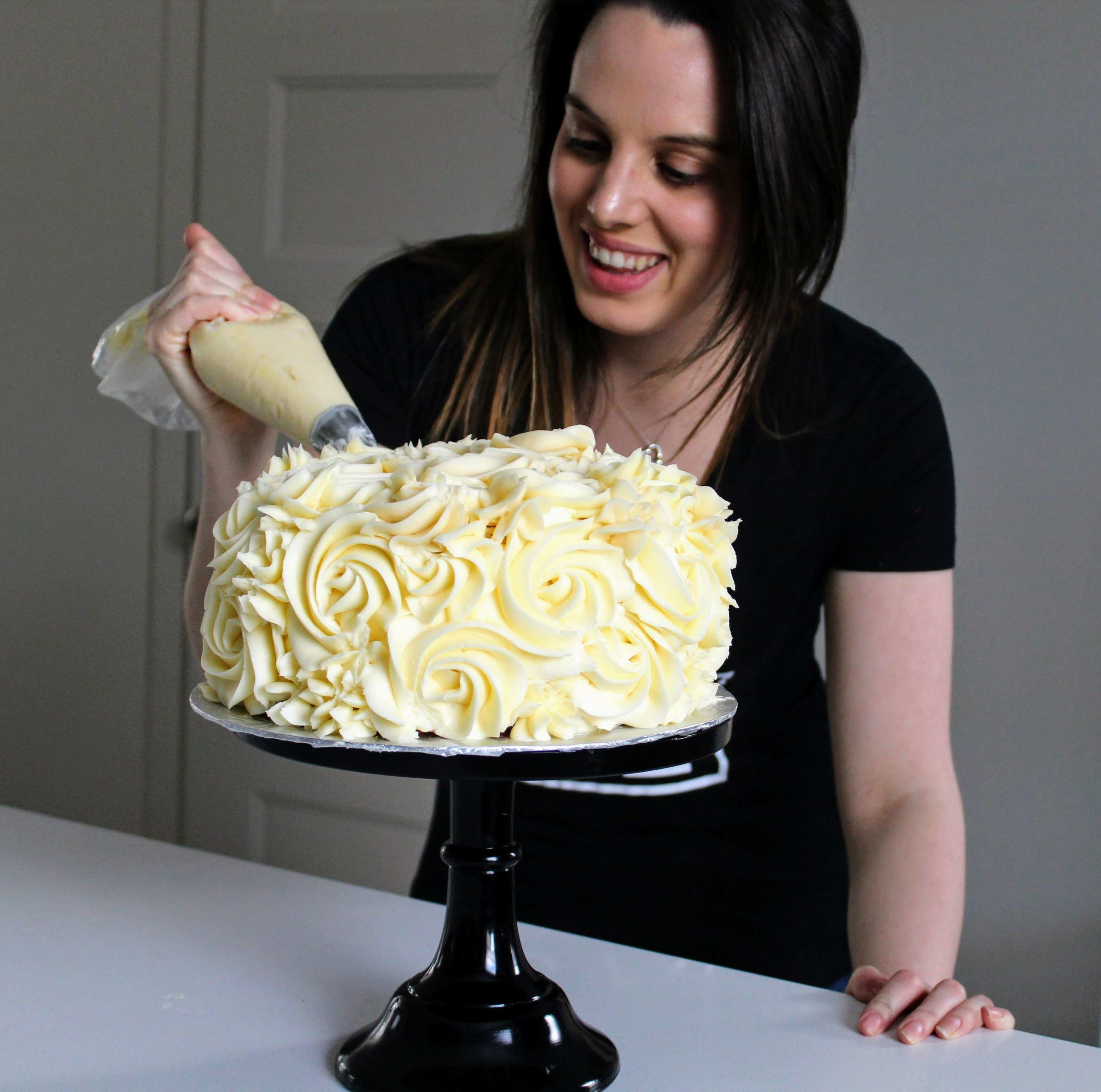 Learn how to make a buttercream rosette cake using just a Wilton 1B decorating tip!