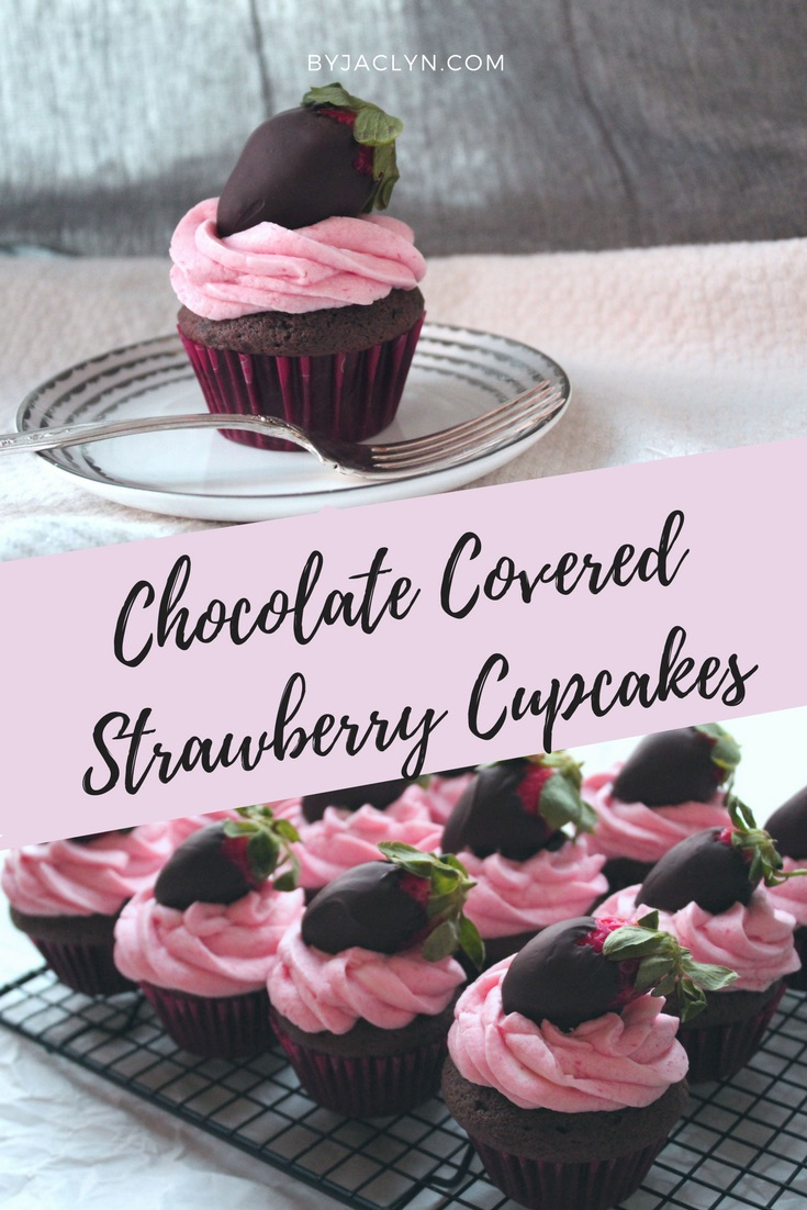 Chocolate Cupcakes with Fresh Strawberry Buttercream topped with a Chocolate Covered Strawberry