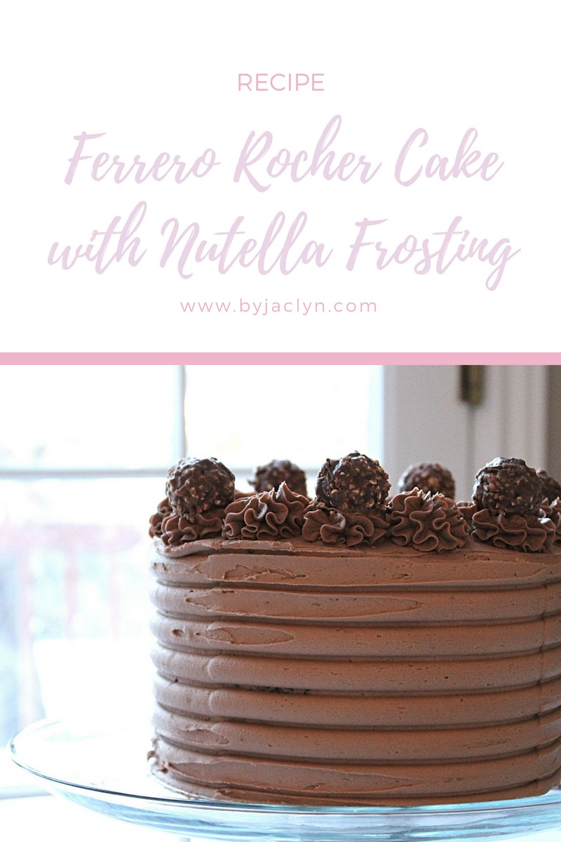 Ferrero Rocher Cake - A rich moist chocolate cake with a Ferrero Rocher crunch filling and frosted in a decadent smooth Nutella buttercream frosting!