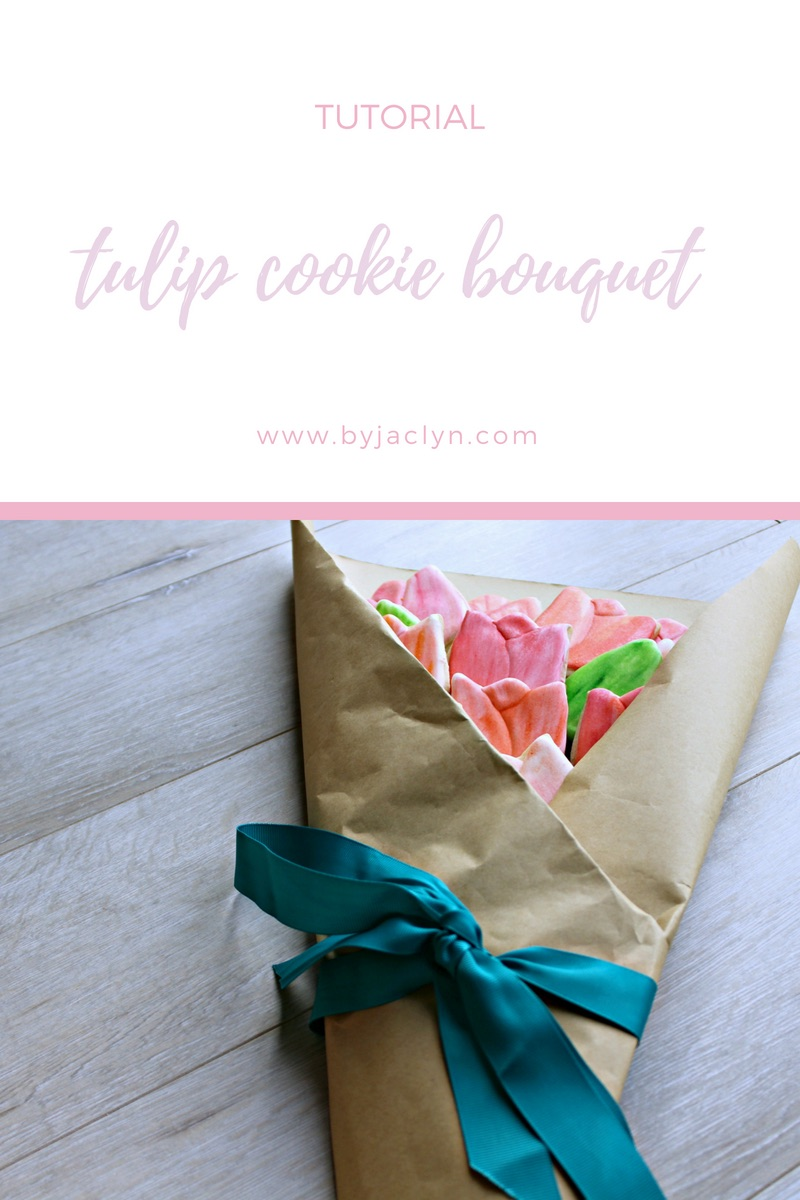 Learn how to make a water colour tulip sugar cookie bouquet perfect for spring