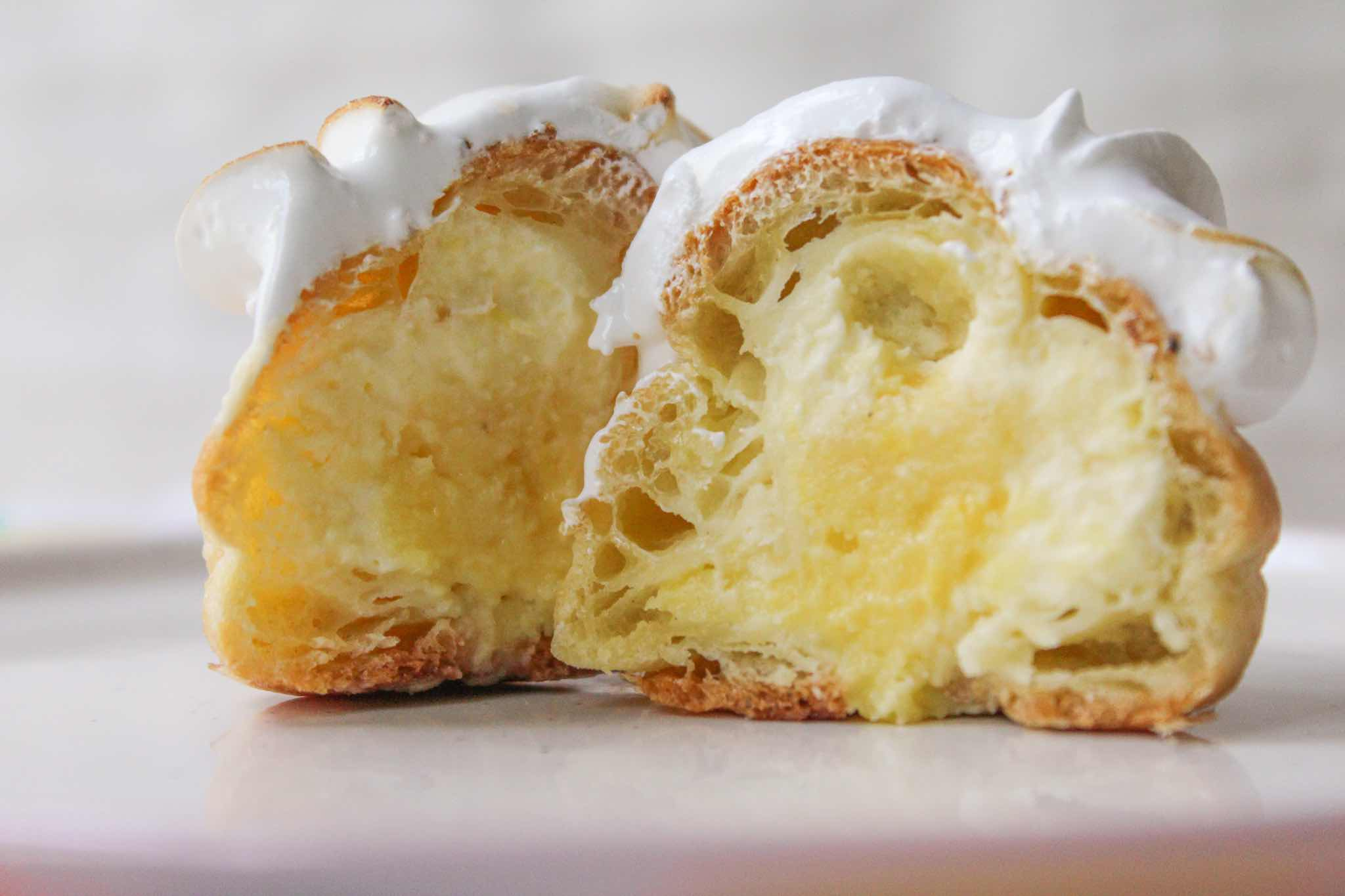 Lemon Meringue Cream Puffs - Filled with Lemon Whipped Cream and Lemon Curd