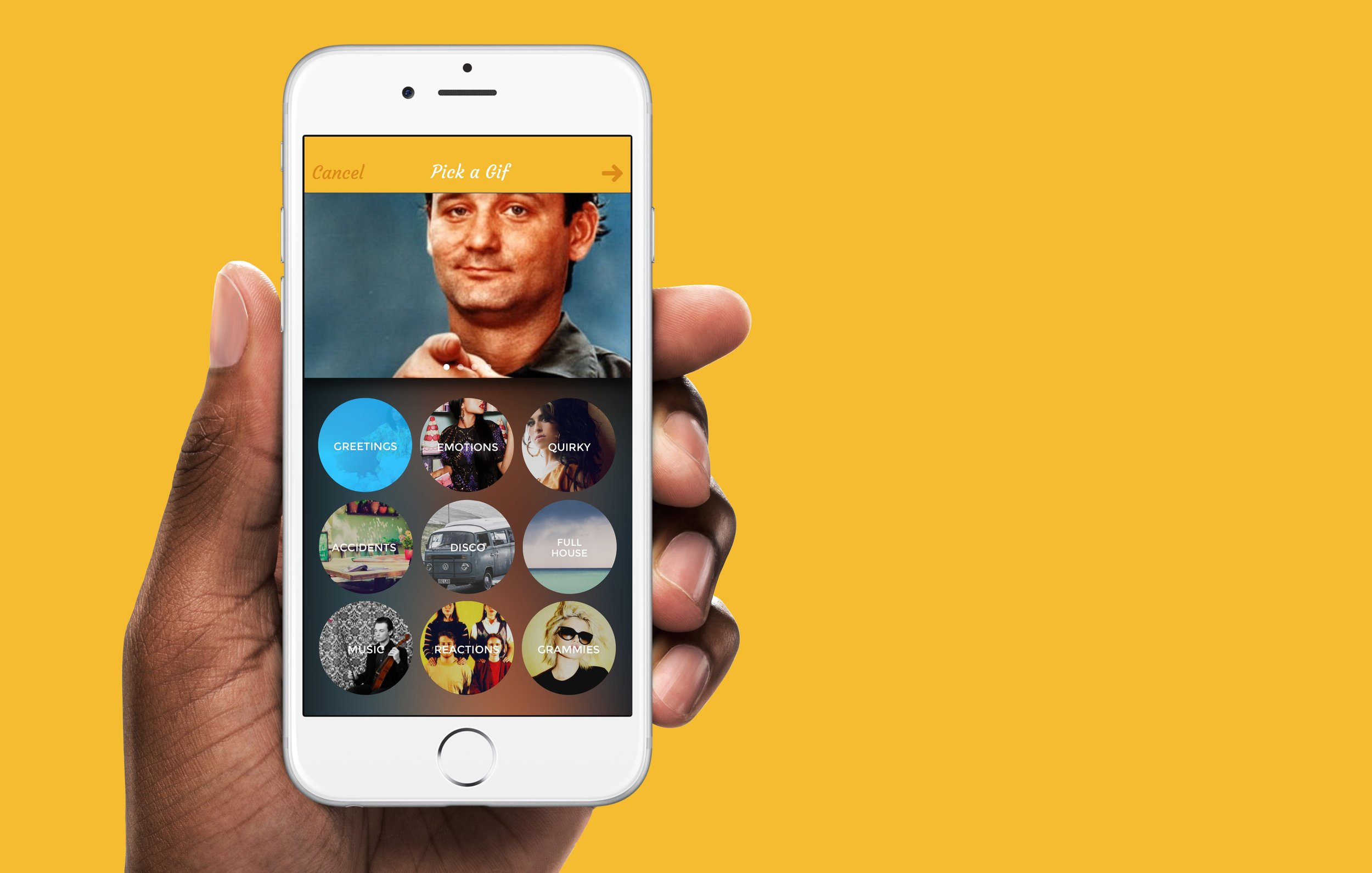 Lively - Lively is a social messaging app based around the best gifs served fresh daily. I worked closely with the Lively team to rapidly develop different concepts and prototype designs. The resulting interface is dynamic to the gif on the screen, using a blurred and tinted version of it as the background.