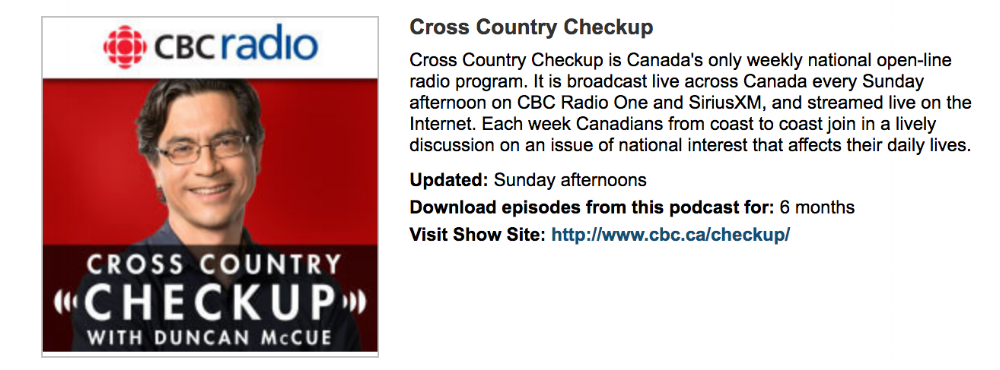 Live interview segment on CBC Radio's Cross Country Checkup discussing public trust in science and the role of science communication to foster a pro-science Canadian culture. They featured a written summary of the interview on their website, linked above.