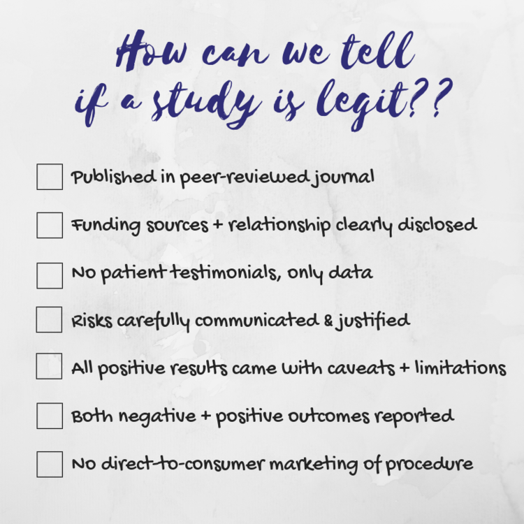 Quick checklist for assessing claims about a specific stem cell procedure, made by Samantha Yammine, PhD. Opinions her own and do not constitute medical advice, please consult your family health team.