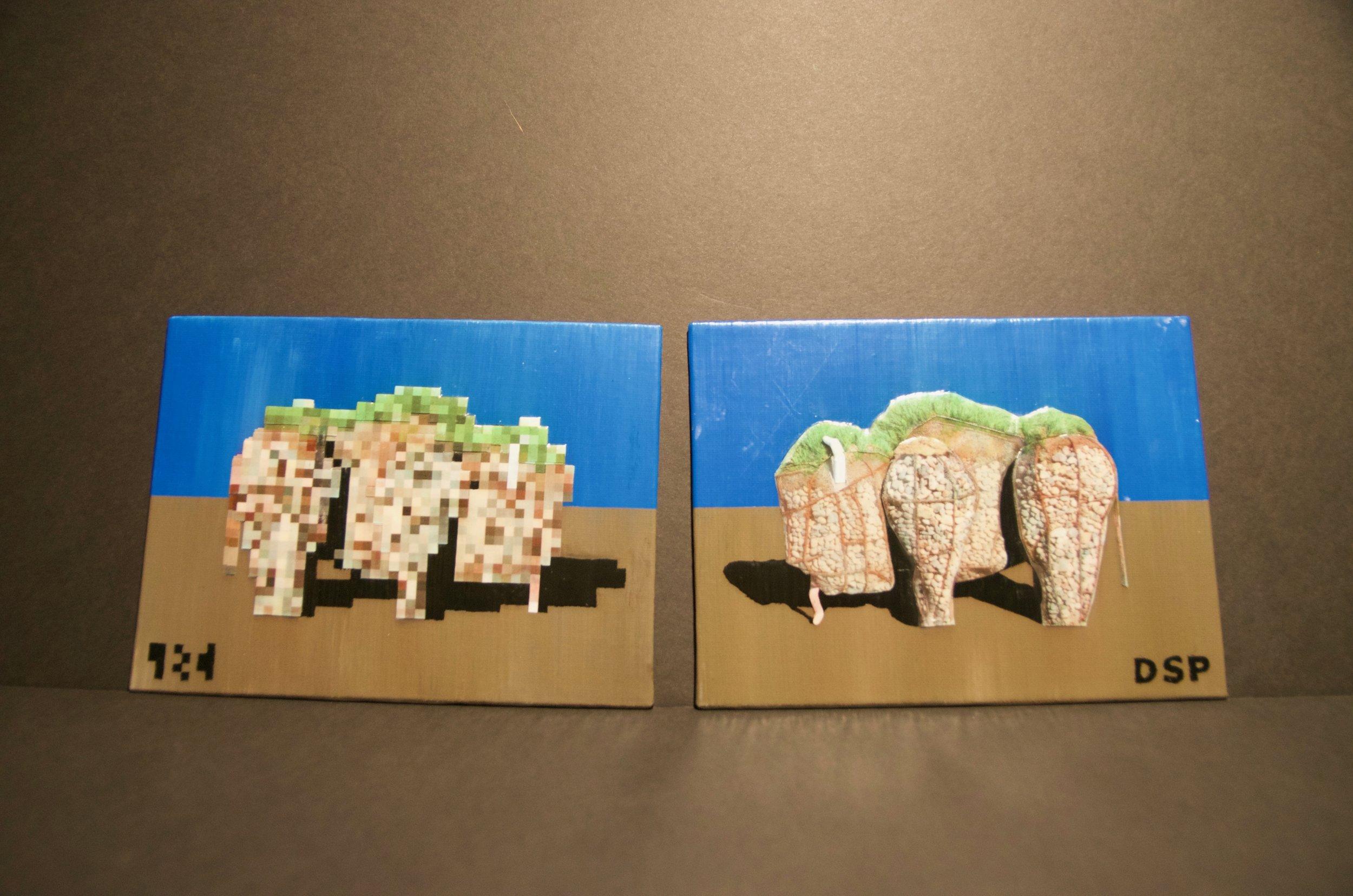 "DANIEL PODGORSKI   Acrylic, clear adhesive, paper, and ink on canvas | 6""x18"" (unframed)   Value:  $125 |  Minimum bid:  $100"