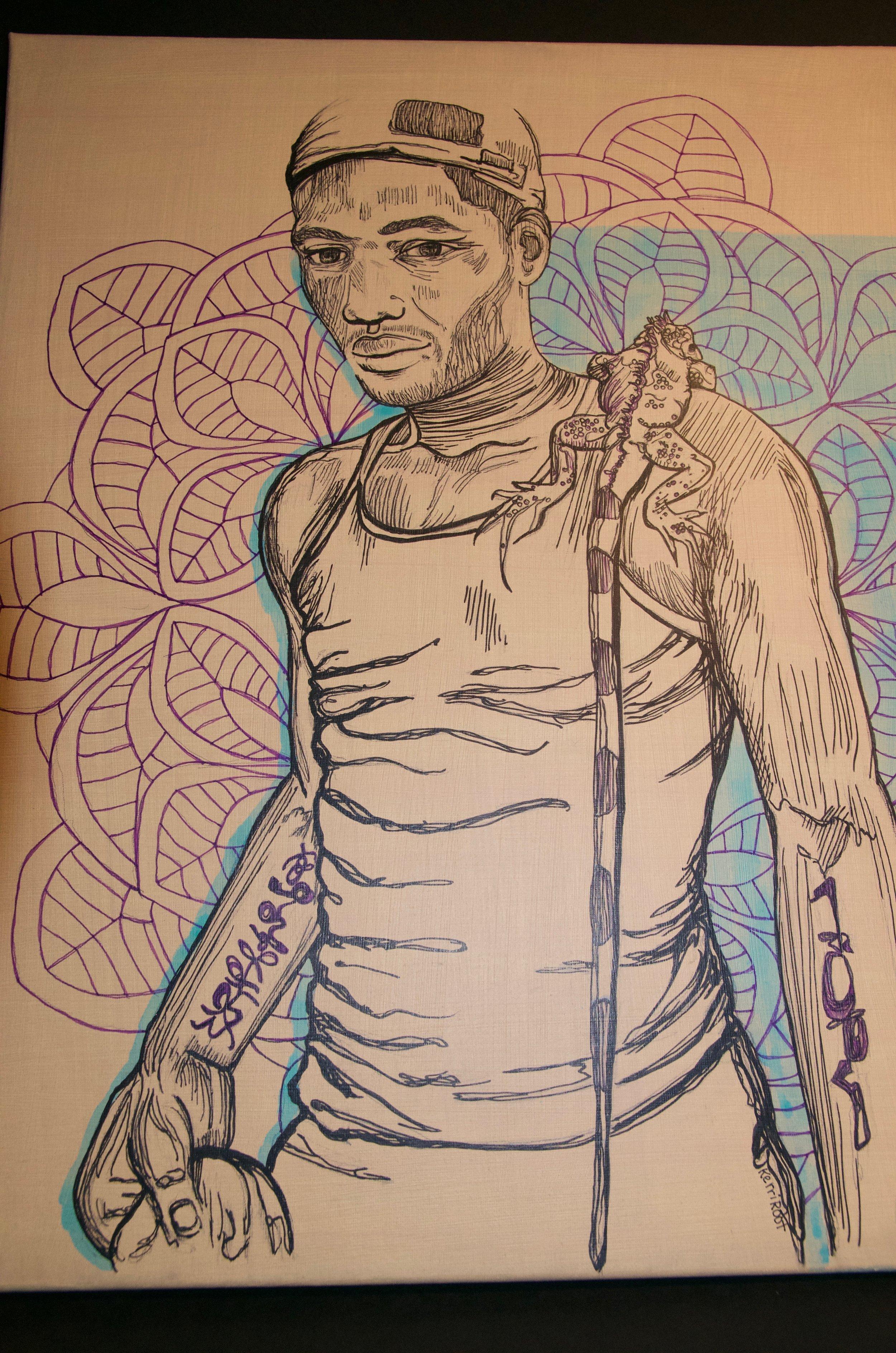 "KERRI ROOT   Acrylic and ink on canvas | 16""x20"" (unframed)   Value:  $300 |  Minimum bid:  $100"