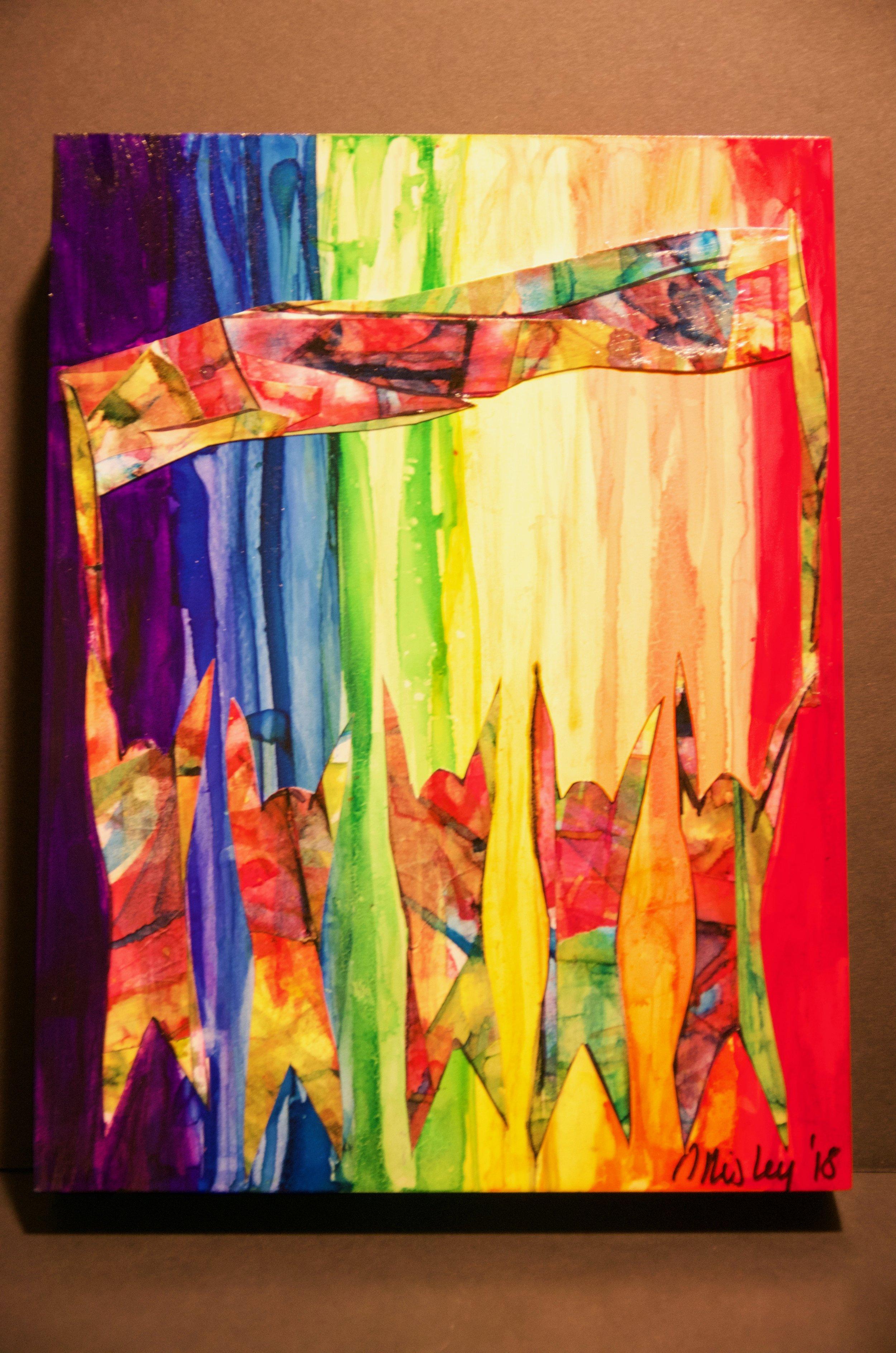 "SARA RISLEY   Alcohol ink and artist's tape on cradled panel | 9""x12"" (unframed)   Value:  $250 |  Minimum bid:  $100"