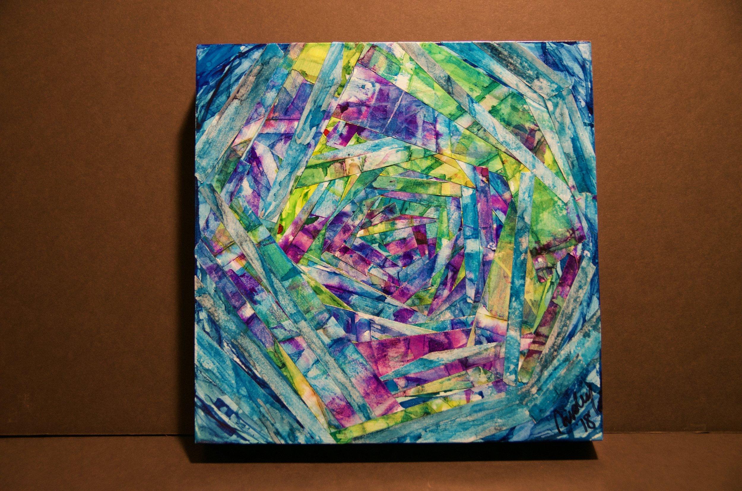 "SARA RISLEY   Alcohol ink and artist's tape on cradled panel | 10""x10"" (unframed)   Value:  $250 |  Minimum bid:  $100"