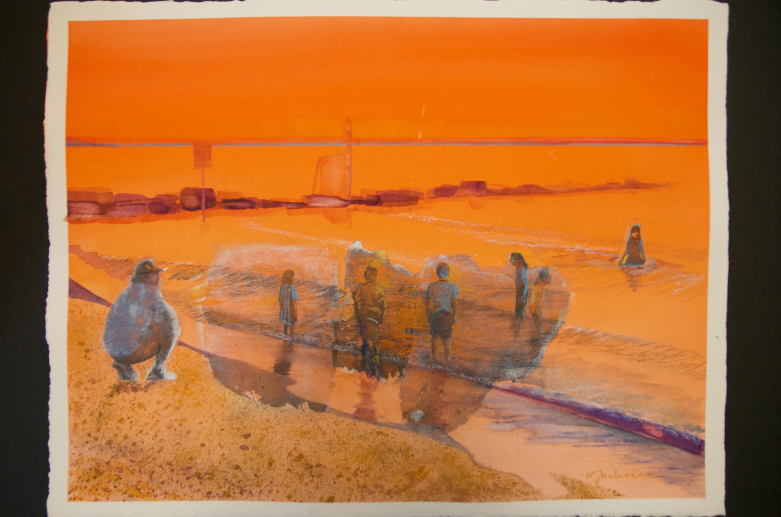 "JEANNE NIKOLAI OLIVIERI   Mixed media (collage, watercolor, charcoal pencil, wax pastels  18.5""x24"" (unframed)   Value:  $500 |  Minimum bid:  $150"
