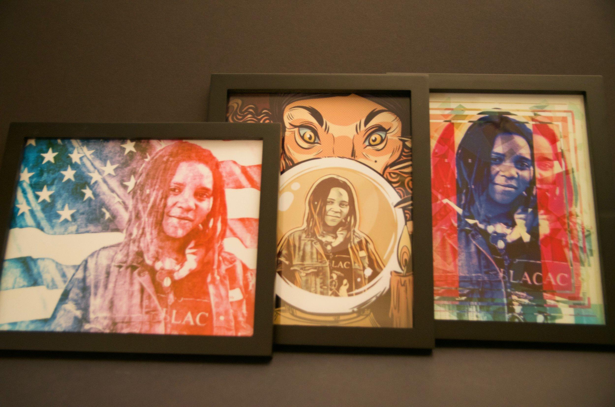 "CRYSTAL SENSKI   Digital art | 8""x10"" (framed set of three)   Value:  $100 |  Minimum bid:  $75"