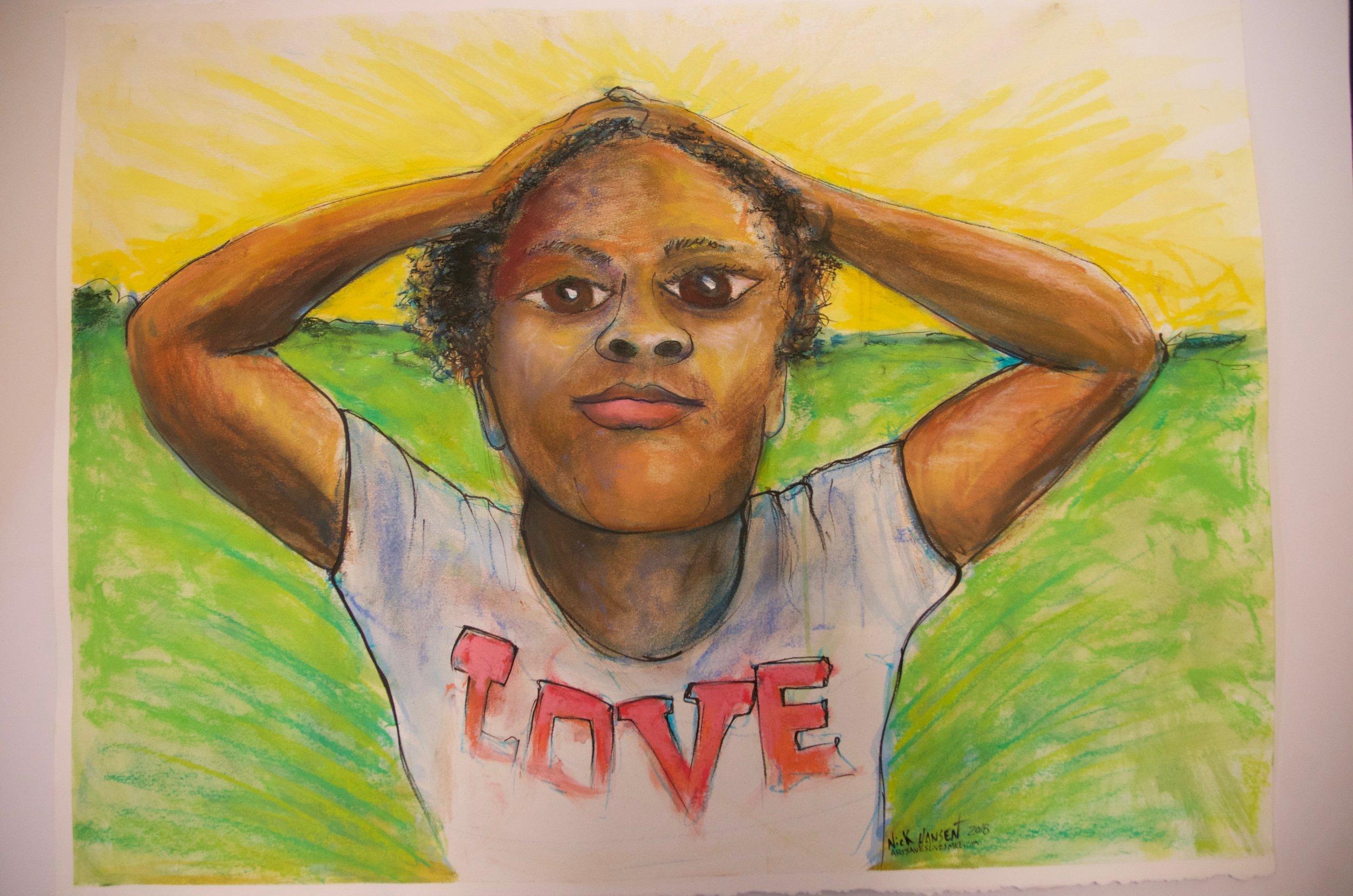 "NICK HANSEN   Watercolor, ink, and soft pastel on watercolor paper | 23""x30""  (unframed)   Value:  $250 |  Minimum bid:  $100"