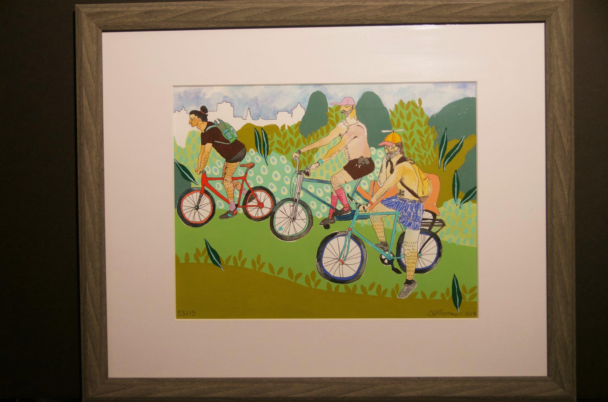 "CHRISTINA THOMAS   Painting and mixed media on paper | 16""x20"" (framed 20""x24"")   Value:  $400 |  Minimum bid:  $150"