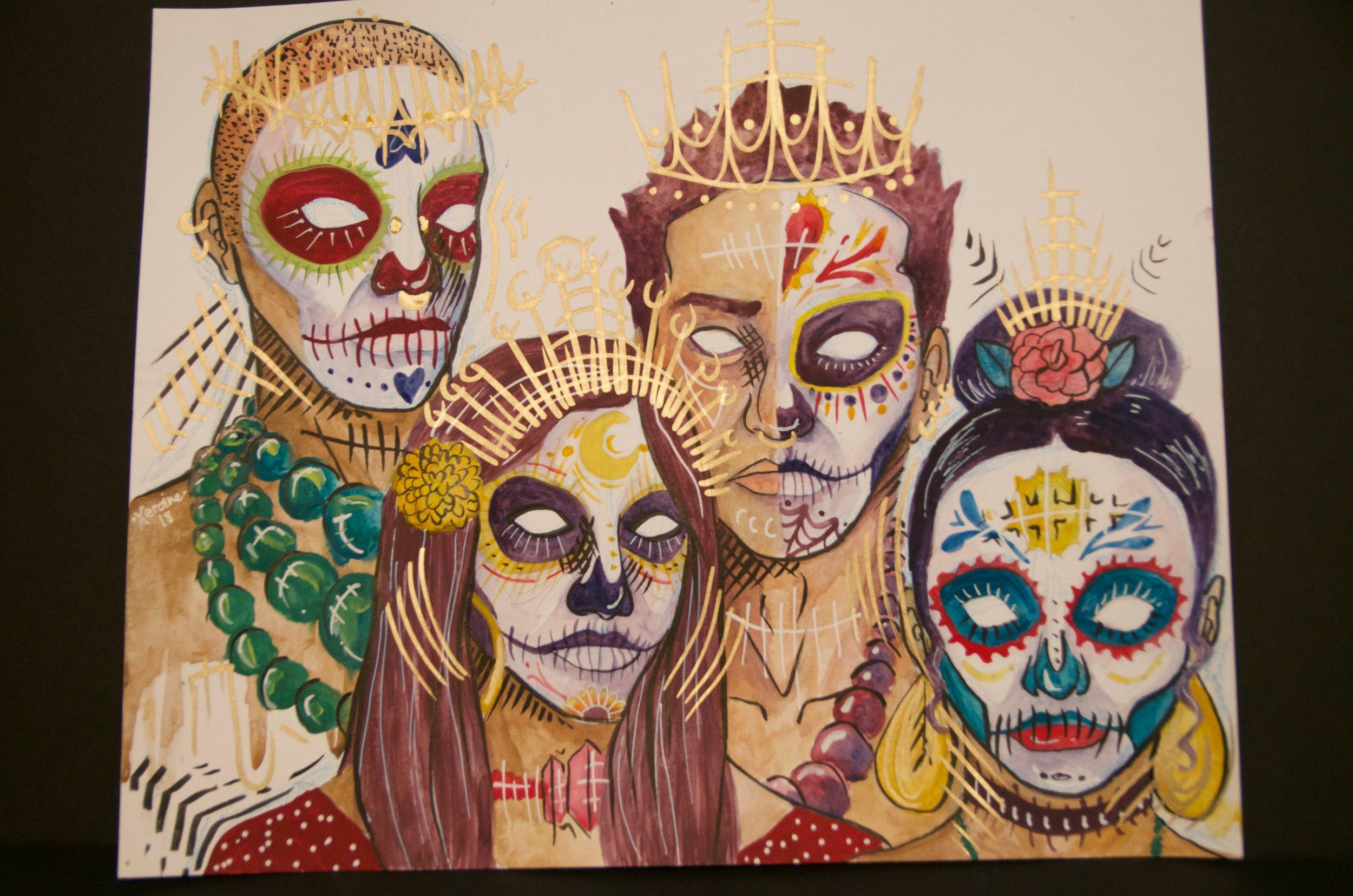 "YESSICA JIMENEZ   Watercolor and pen on paper | 14""x17"" (unframed)   Value:  $200 |  Minimum bid:  $75"