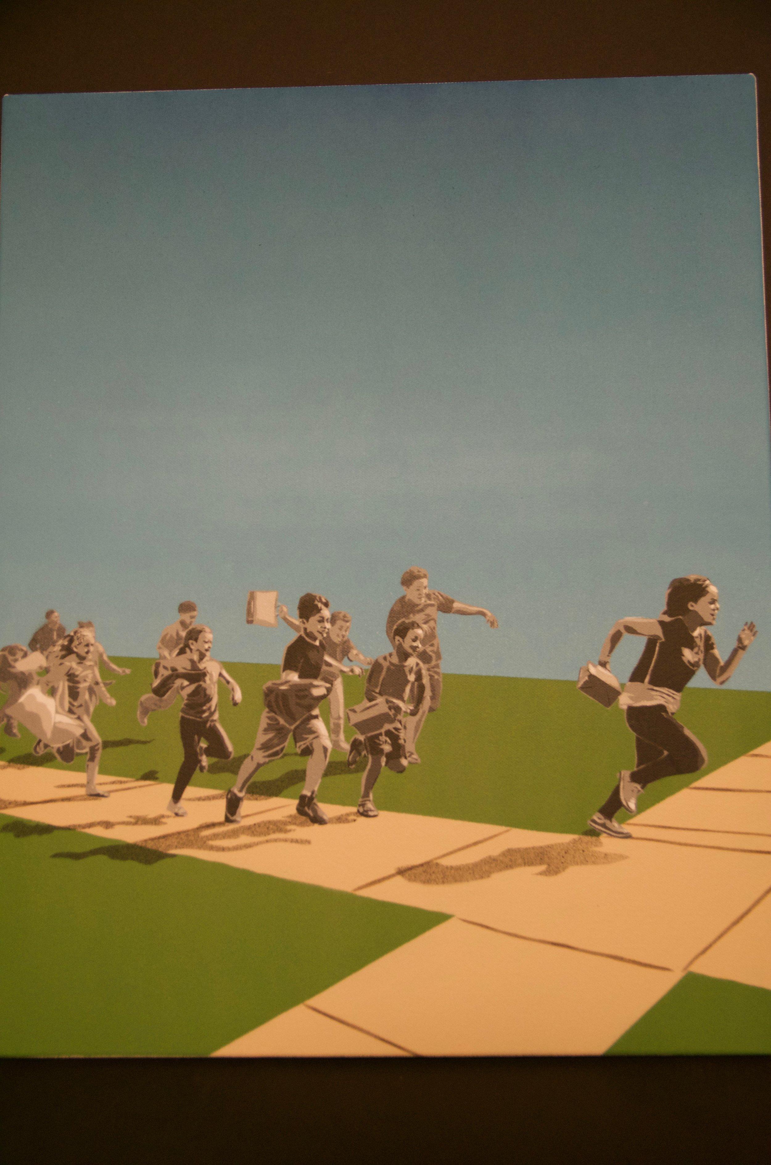 "FRED KAEMS   Hand-cut stencils and paint on canvas | 16""x20"" (unframed)   Value:  $450 |  Minimum bid:  $250"