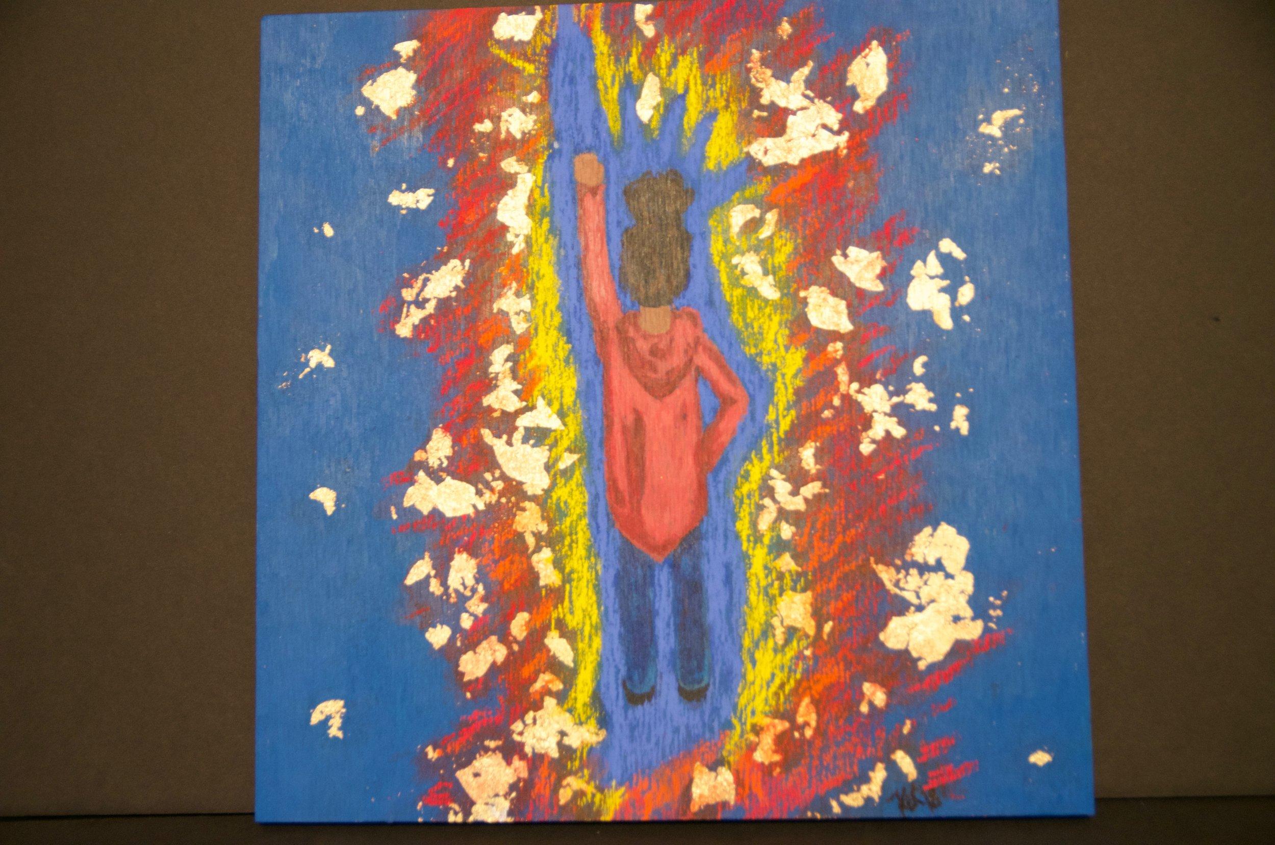 "KATIE LOUGHMILLER   Acrylic, pastel, and gold leaf on wood | 12""x12"" (unframed)   Value:  $250 |  Minimum bid:  $150"