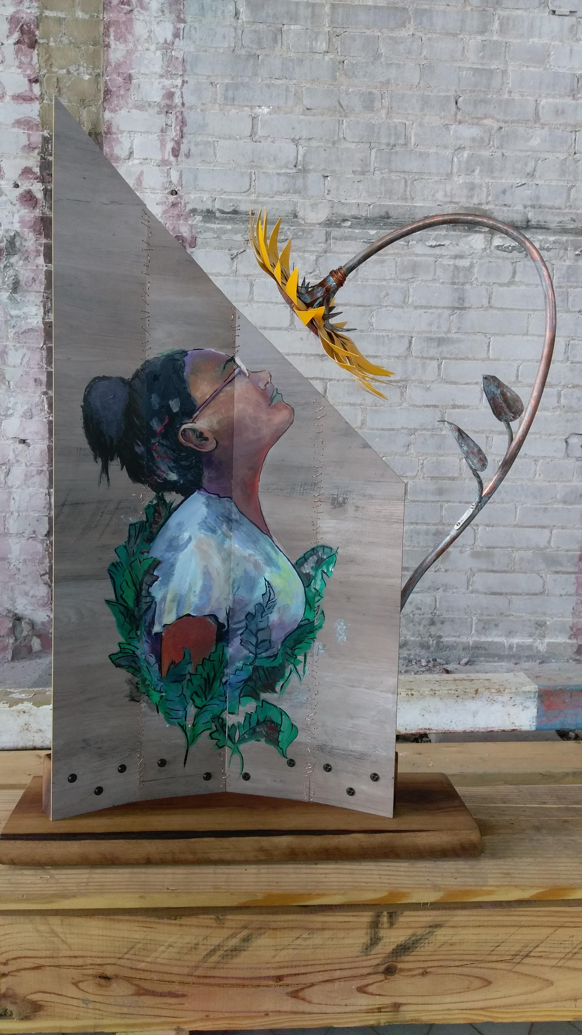 Keenan Lampe & Jacqueline Joyce (20 Ton Studios) - Mixed Media (faux wood panel, acrylic, copper, spray paint, hardwood). 37