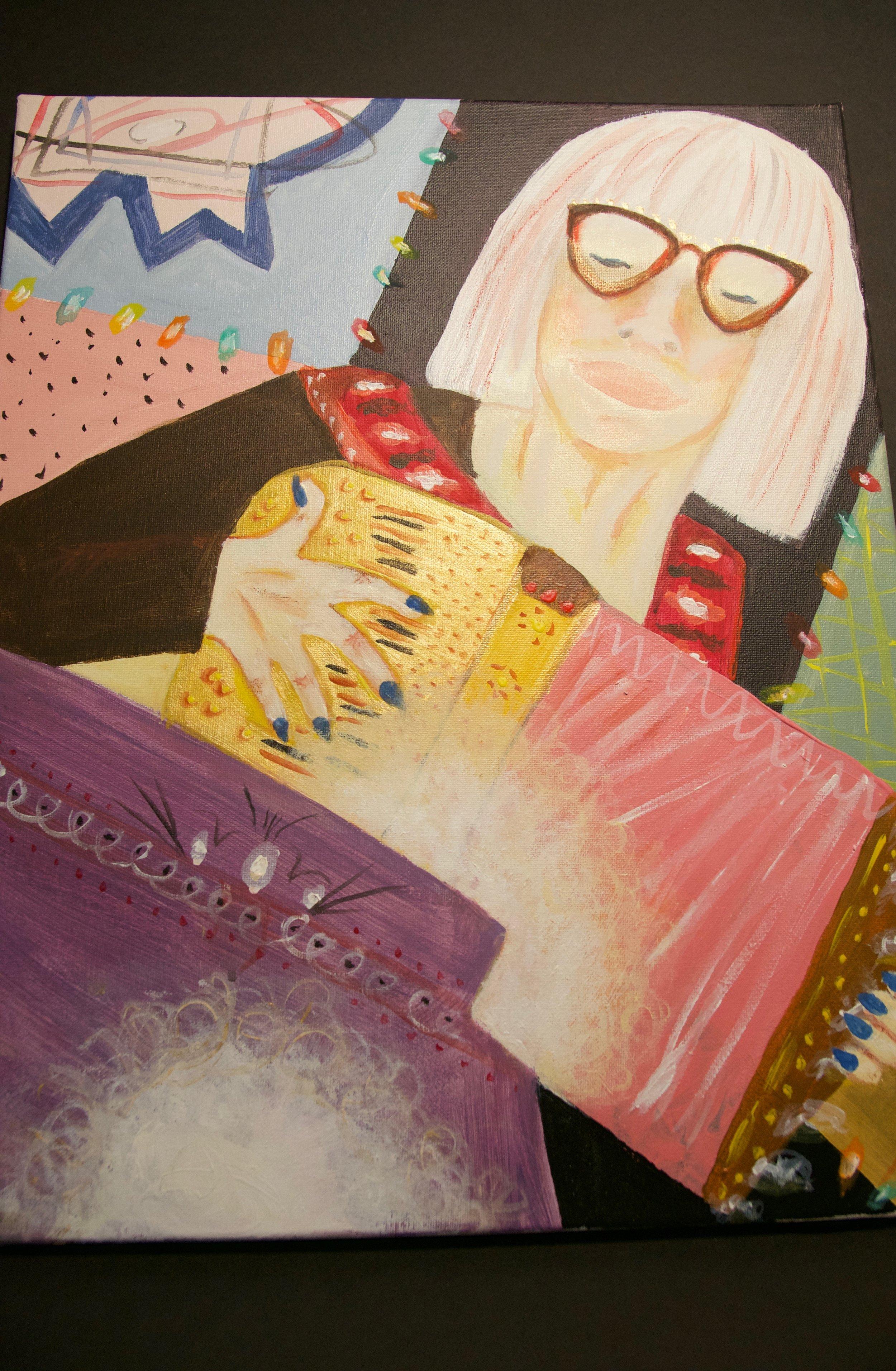 "NABRA NELSON   Acrylic on canvas | 18""x21"" (unframed)   PRICE:  $125"