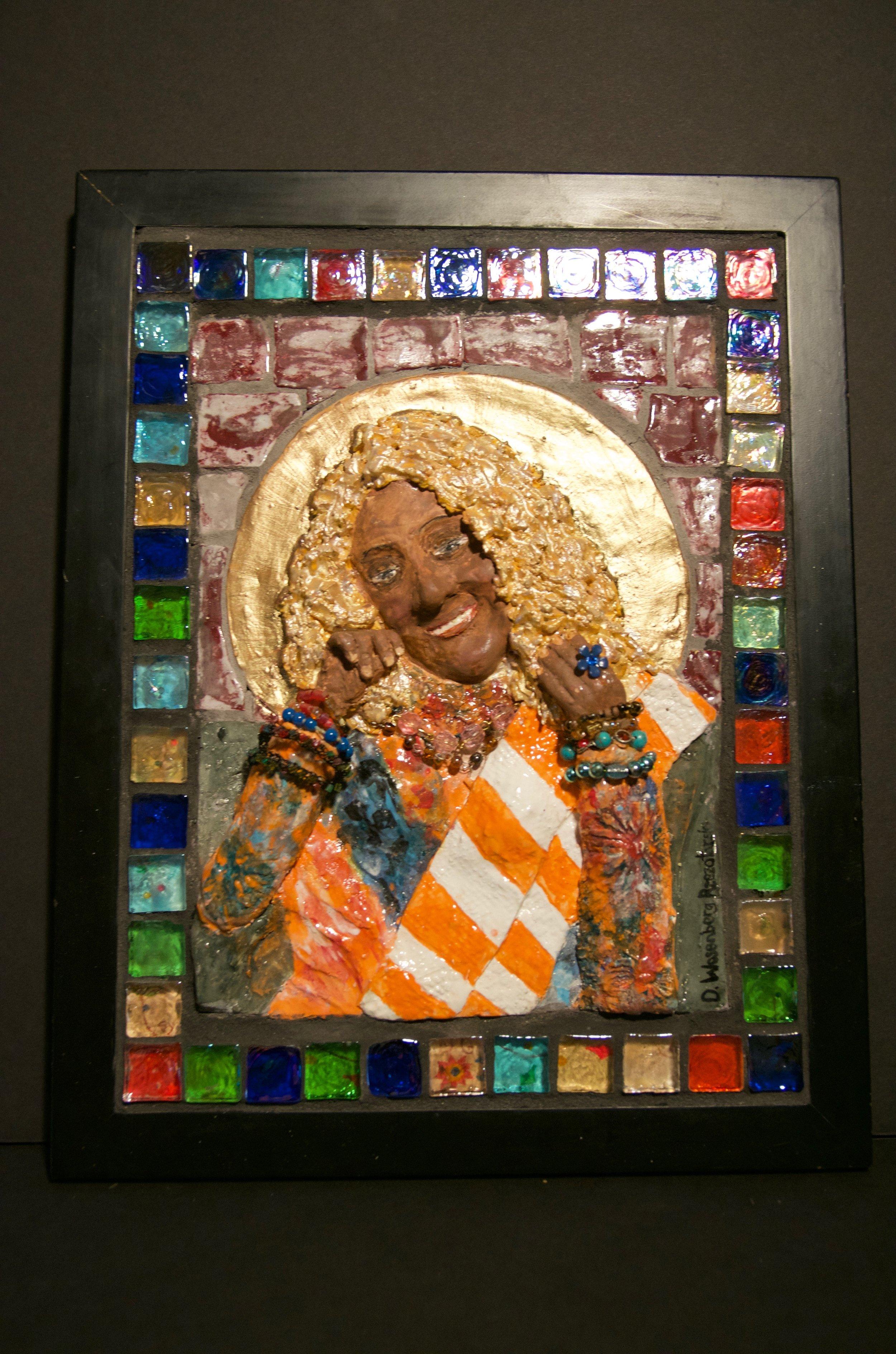 "DARLENE RZEZOTARSKI   Ceramic mosaic and mixed media | 11.5""x14"" (framed)   PRICE:  $700"