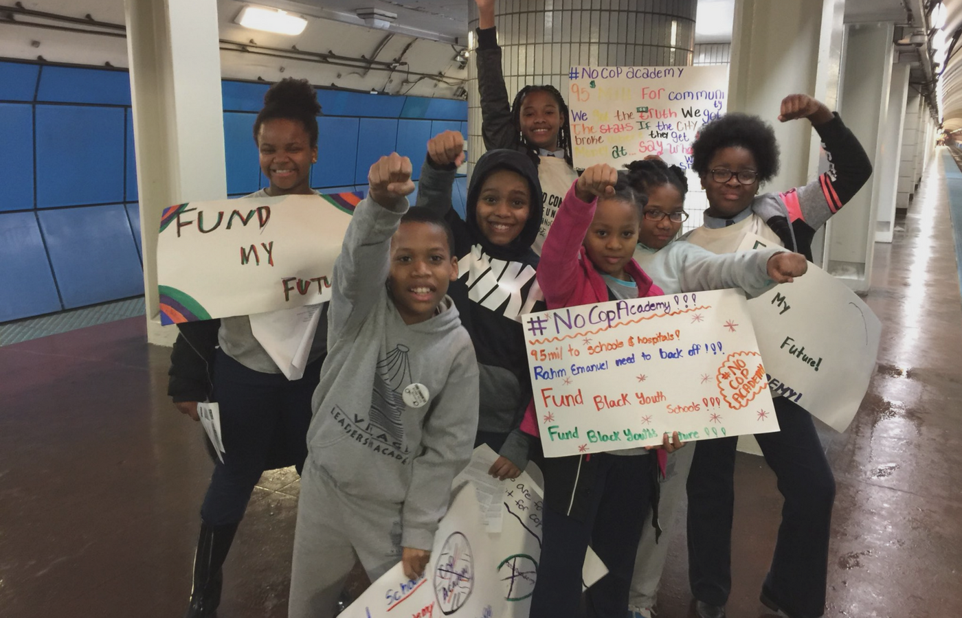 Kara's students participated in a #NoCopAcademy train takeover!
