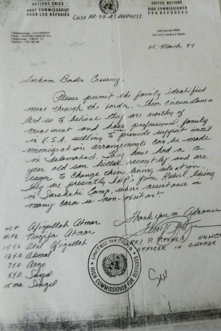 The letter given to the Atmar family by the U.N. giving them permission to cross into Pakistan and into a refugee camp