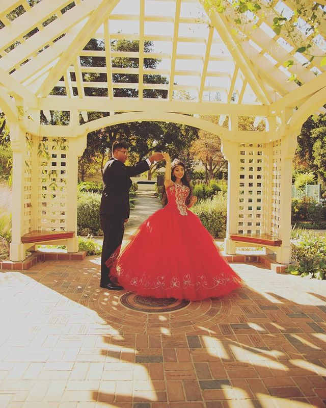Dancing the day away with the best dance partner.  #quinceañeraphotography #sweet15 #15 #quinceañera #quincecolor #bayareaquinceanera #bayareaphotography #fallquince #quinceañeracolors #red #gazebo #park #bayareaportraits #dancing #spine #notposed #natural #naturallight