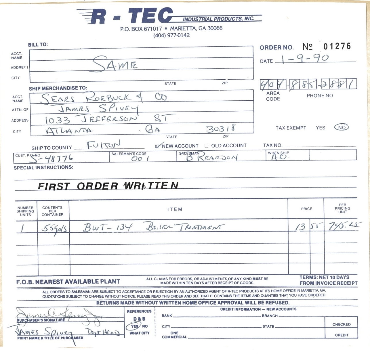 Ri-Tec's First order on january 9th, 1990