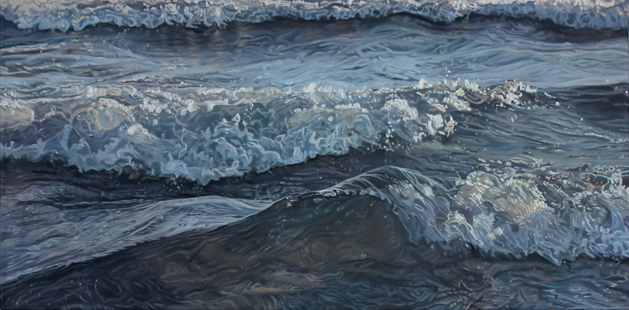 """Current""   Oil on canvas, 12"" x 24"" Pouchcove.org Collection"