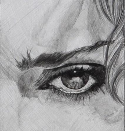 Pencil illustration of Madonna.