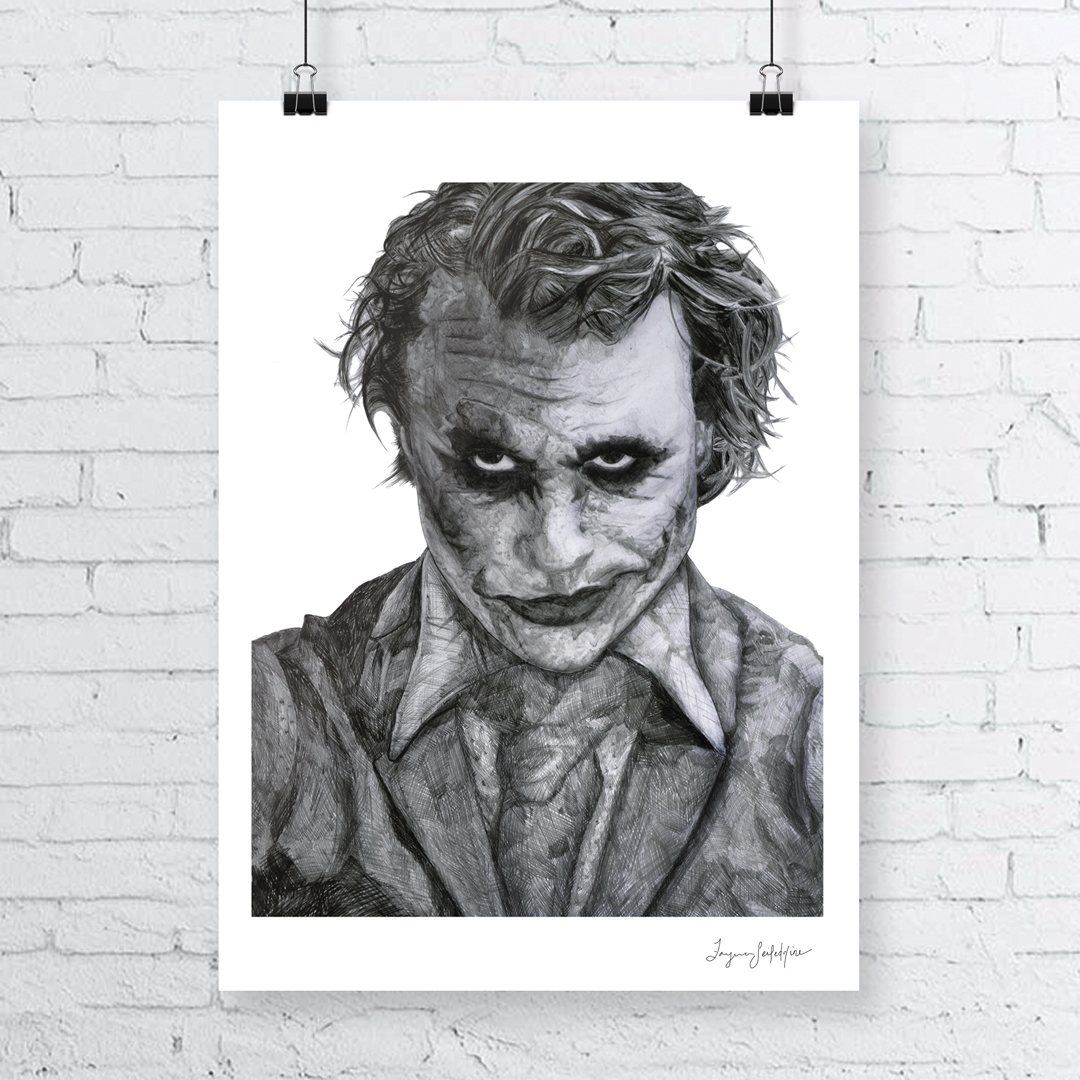 "Hand drawn pencil illustration of ""The Joker"" from the movie The Dark Knight."