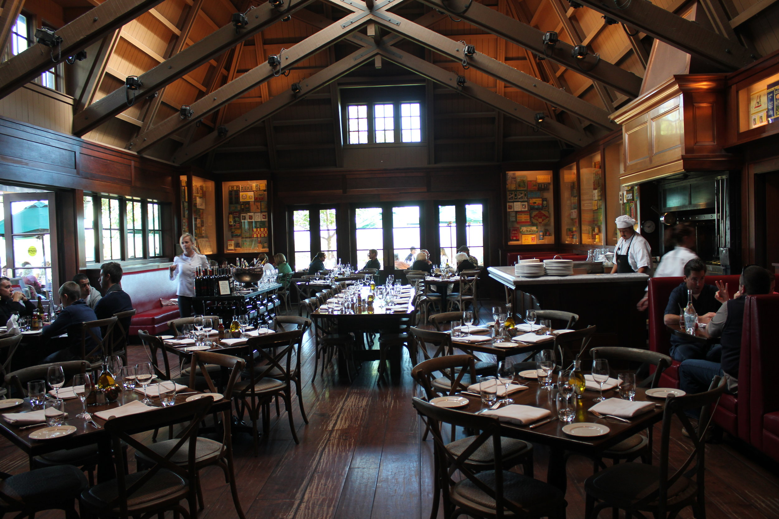 Dining room at Coppola Winery Restaurant Rustic