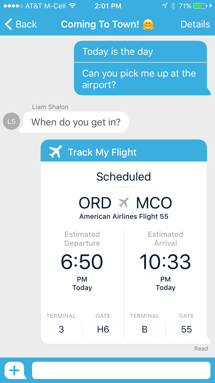 """Through the """"Track My Flight"""" Bubble, both parties can see a bubble that updates live information about a flight's most important information."""