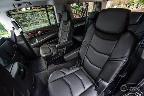 Black Cadillac Escalade interior leather seating