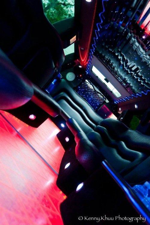 Cadillac Escalade limo interior neon floor