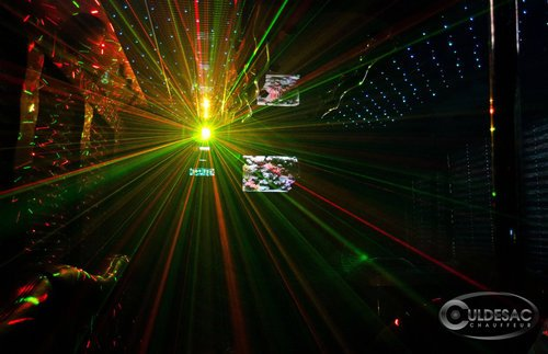 Luxury party bus laser light show