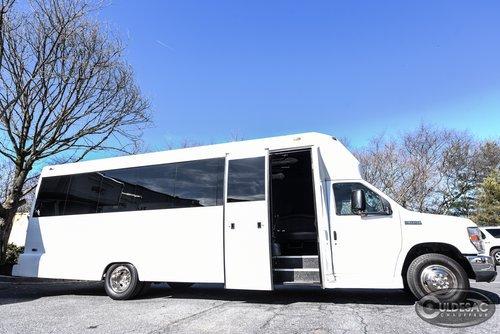 White party bus exterior