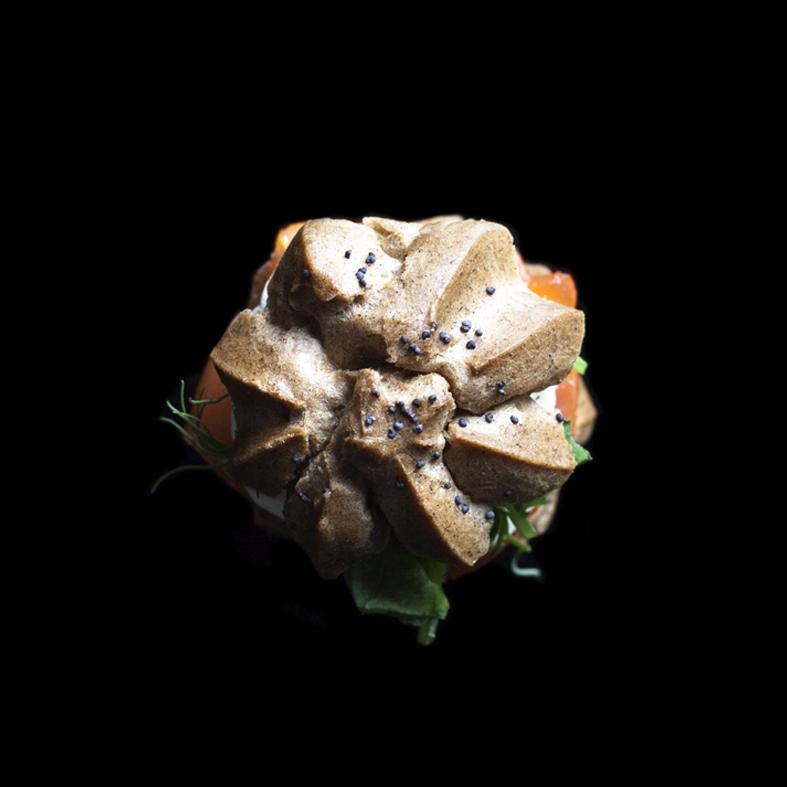 Smoked Salmon Profiteroles with dill sour cream (GF)