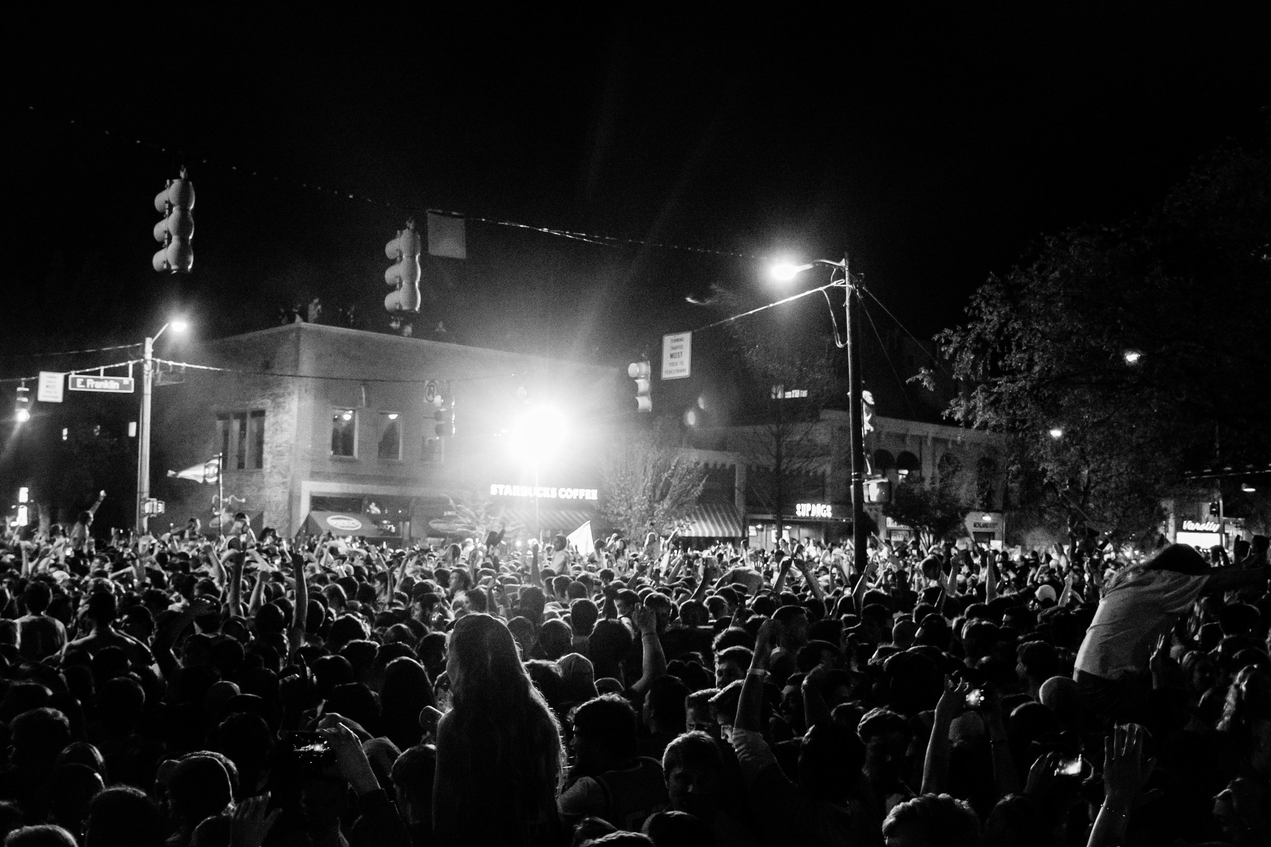 franklin street after unc defeated gonzaga in the 2017 men's basketball national championship game