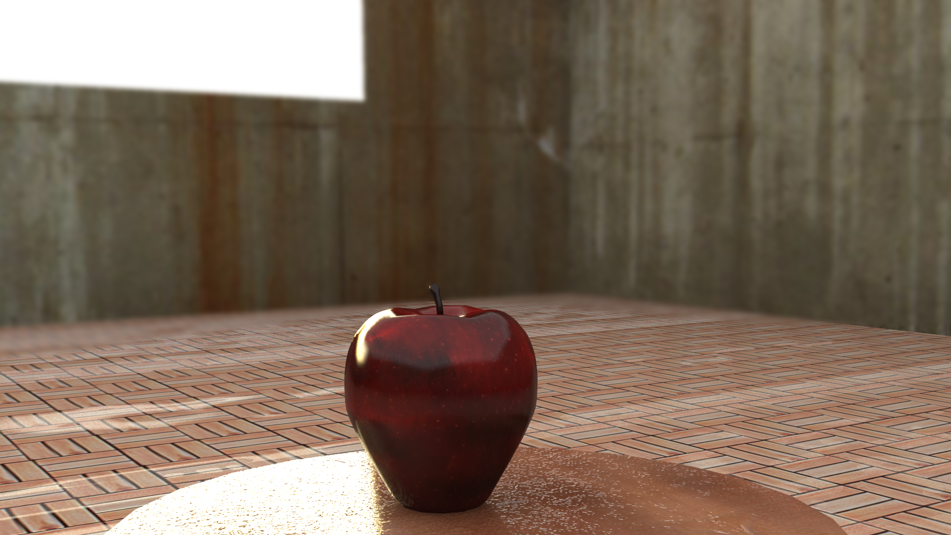 Apple  Another one of my alphabet renders. I created my own showcase backdrop because I found 'Max's a little bland. Decided I wanted to go with some Neo-Brutalist walls.