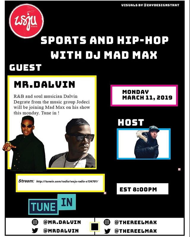 Tonight at 8:00pm est on Sports and Hip Hop with DJ Mad Max 🔥 Mr. Dalvin from Jodeci will be calling in at 8:00 pm and at 9:30pm est Rampage from the Flipmode Squad will be calling in to talk about their music and upcoming work. Listen: https://tunein.com/radio/WSJU-Radio-s134701/ https://maxrcoughlan.com/sports-and-hip-hop.html