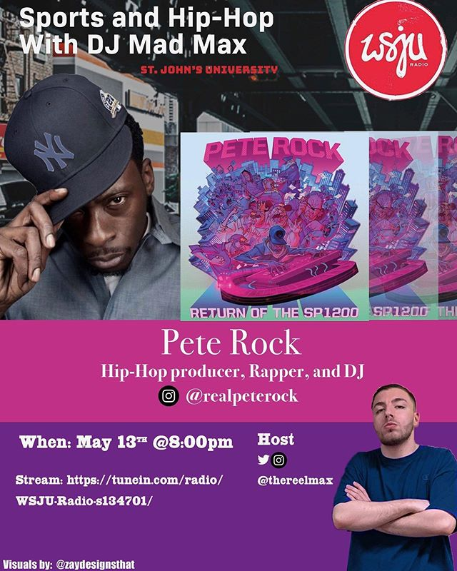 "The legend @realpeterock will be calling into ""Sports and Hip-Hop with DJ Mad Max"" tonight at 8:00pm est to talk about his new album Return of the SP1200 with DJ Mad Max! @thereelmax Stream WSJU Radio on tunein at 8:00pm est!"