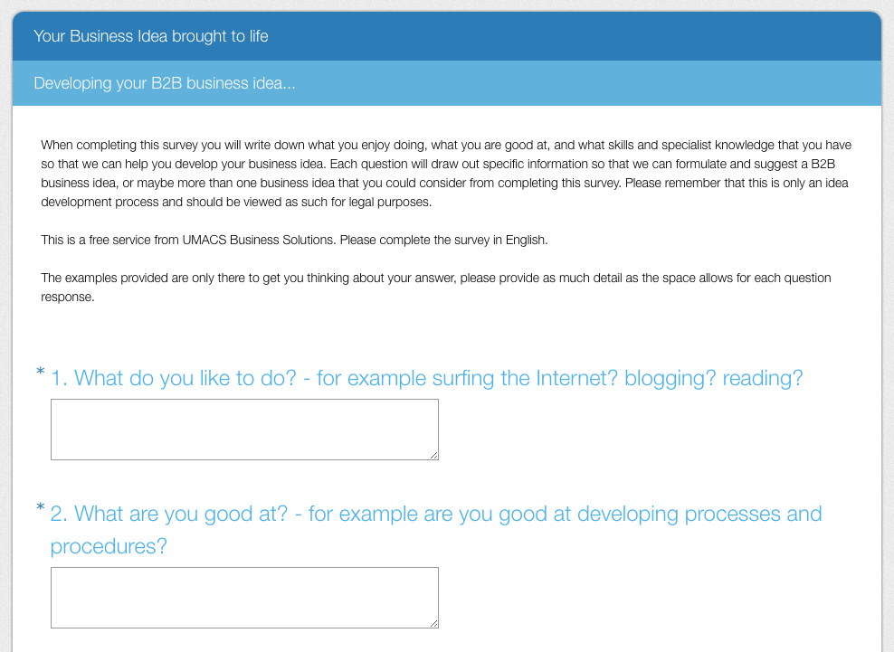 Snapshot of your survey - CLICK INSIDE TO START