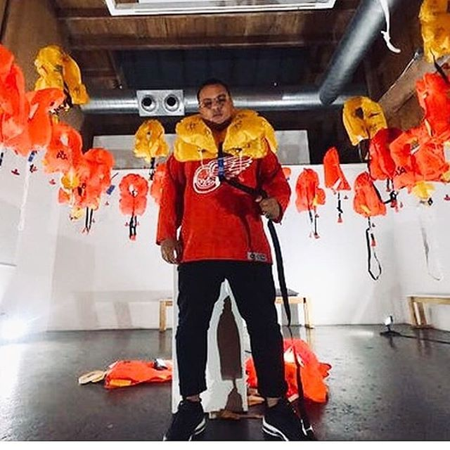 """Thanks for dressing up our install last weekend with your fly style. 😉 """"Sink or Swim""""  @mossserati #lifejackets #saveyourself #sinkorswim #art"""
