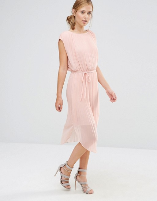 ASOS Warehouse Pleated Curved Hem Dress