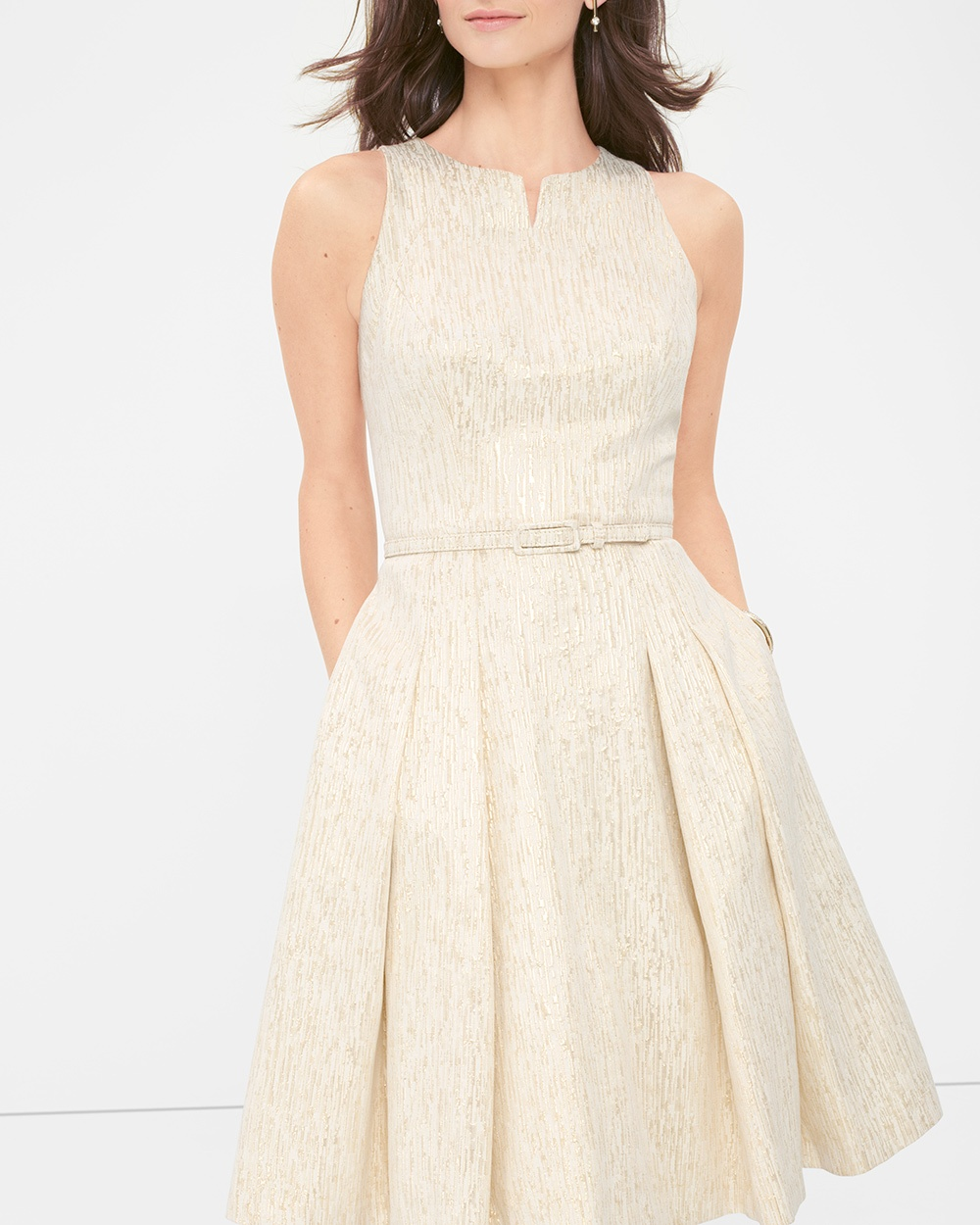 GOLD METALLIC JACQUARD FIT-AND-FLARE DRESS