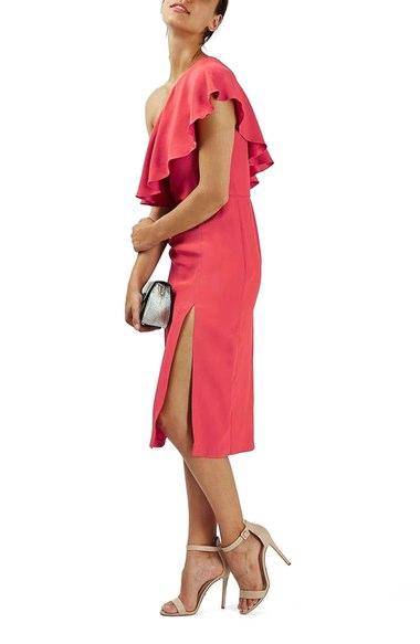 Topshop Ruffle One-Shoulder Midi Dress