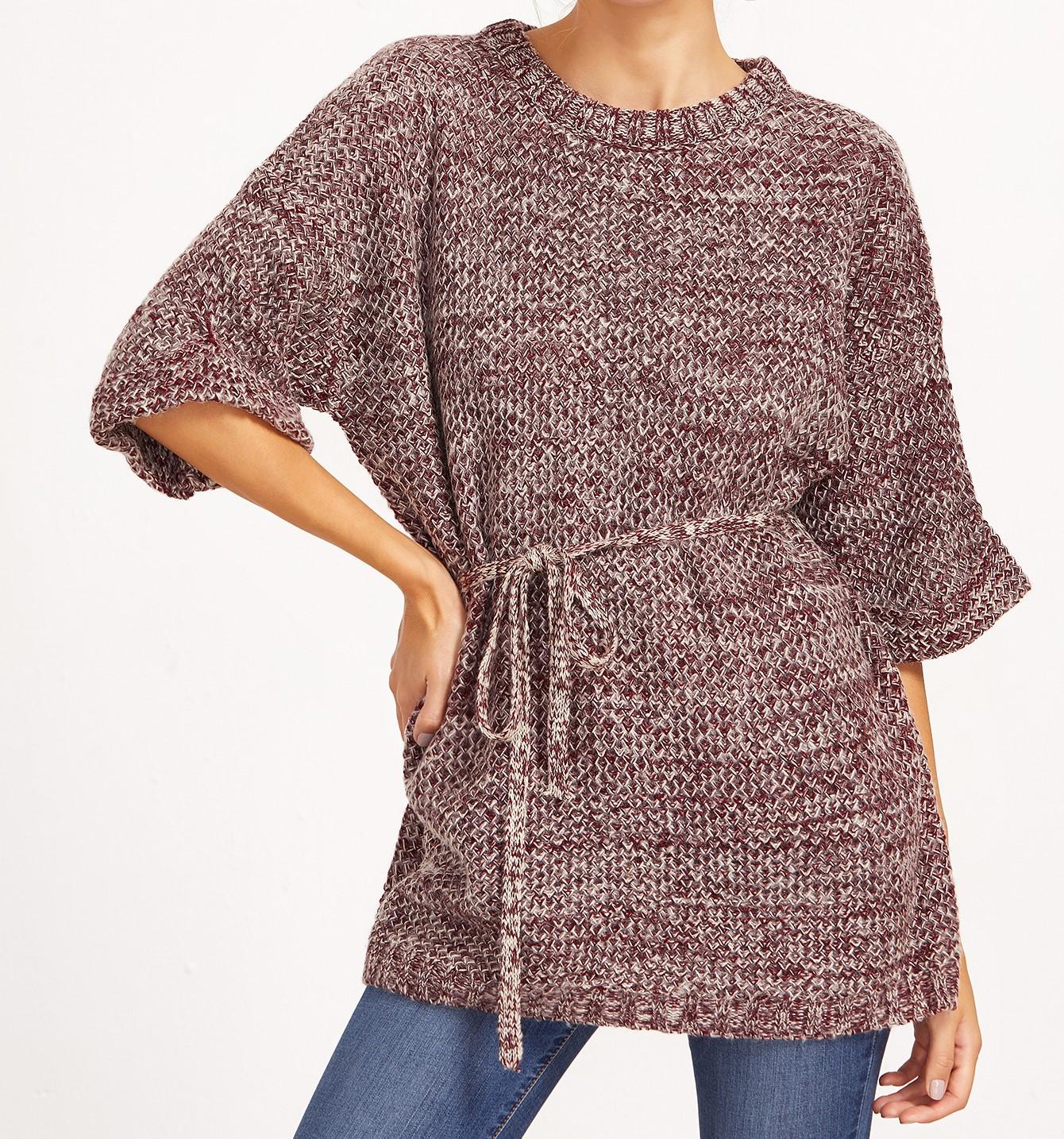 SheIn Burgundy Marled Knit Half Sleeve Sweater