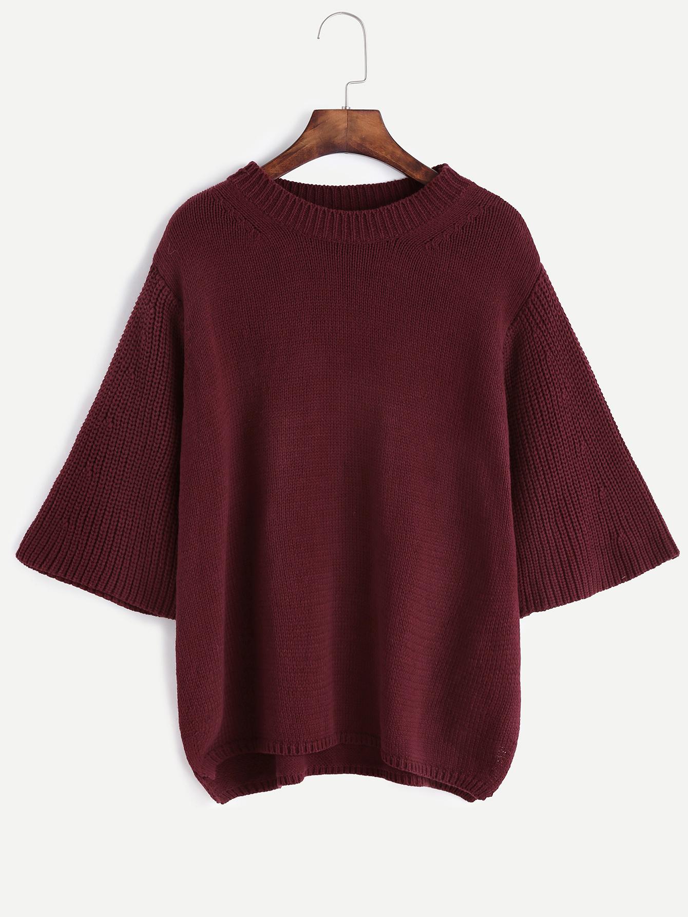 SheIn Purple Funnel Neck Kimono Sleeve Sweater