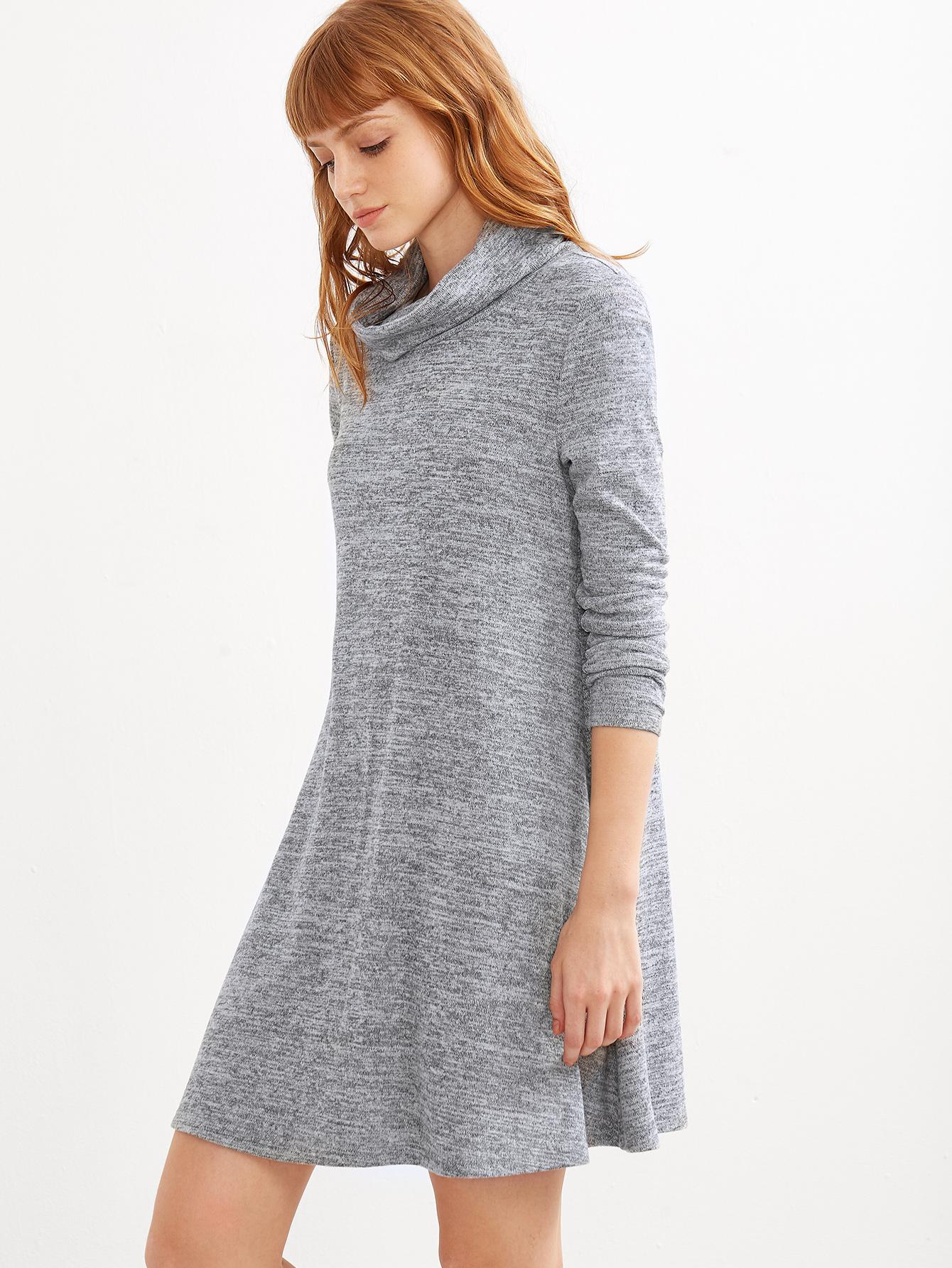 SheIn Grey Knit Cowl Neck Dress