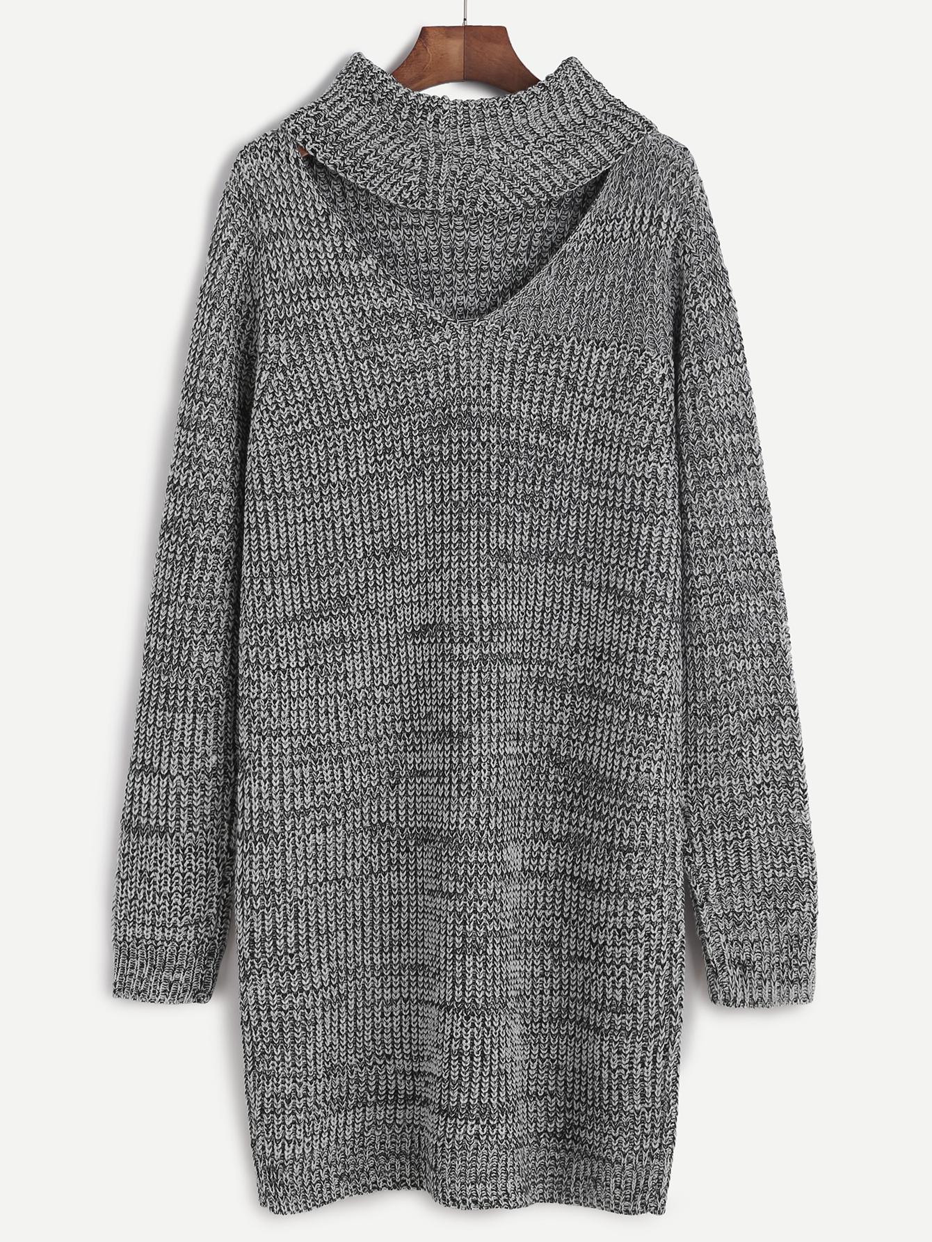 SheIn Grey Knit Cutout Turtleneck Dress