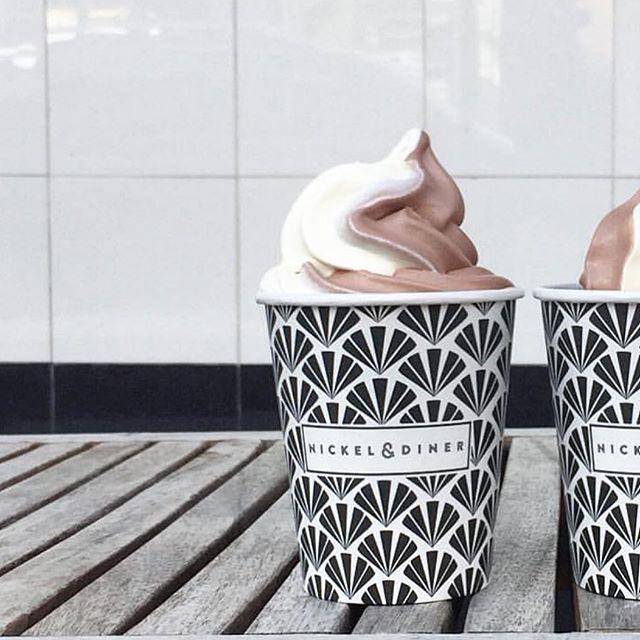 Mid day snack 🙃 #chocolateandvanilla #frozencustard #nickelanddiner